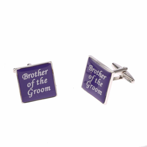 BEST MAN USHER ETC PURPLE SQUARE WEDDING CUFFLINKS GROOM GREAT VALUE!