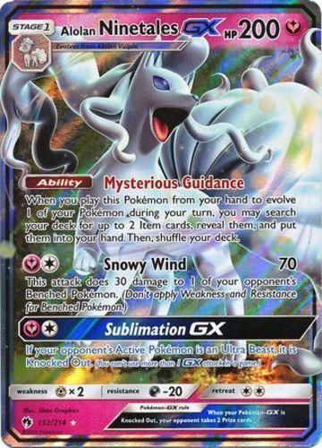 English Ultra Rare NM-Mint Pokemon Alolan Ninetales GX 132//214