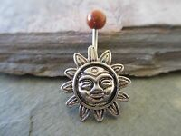 Aztec Sun Goldstone Top Belly Button Navel Ring
