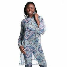 QVC ILODIE PAISLEY PRINT MANDARIN COLLAR LONG TUNIC SIZE SMALL NEW WITH TAGS
