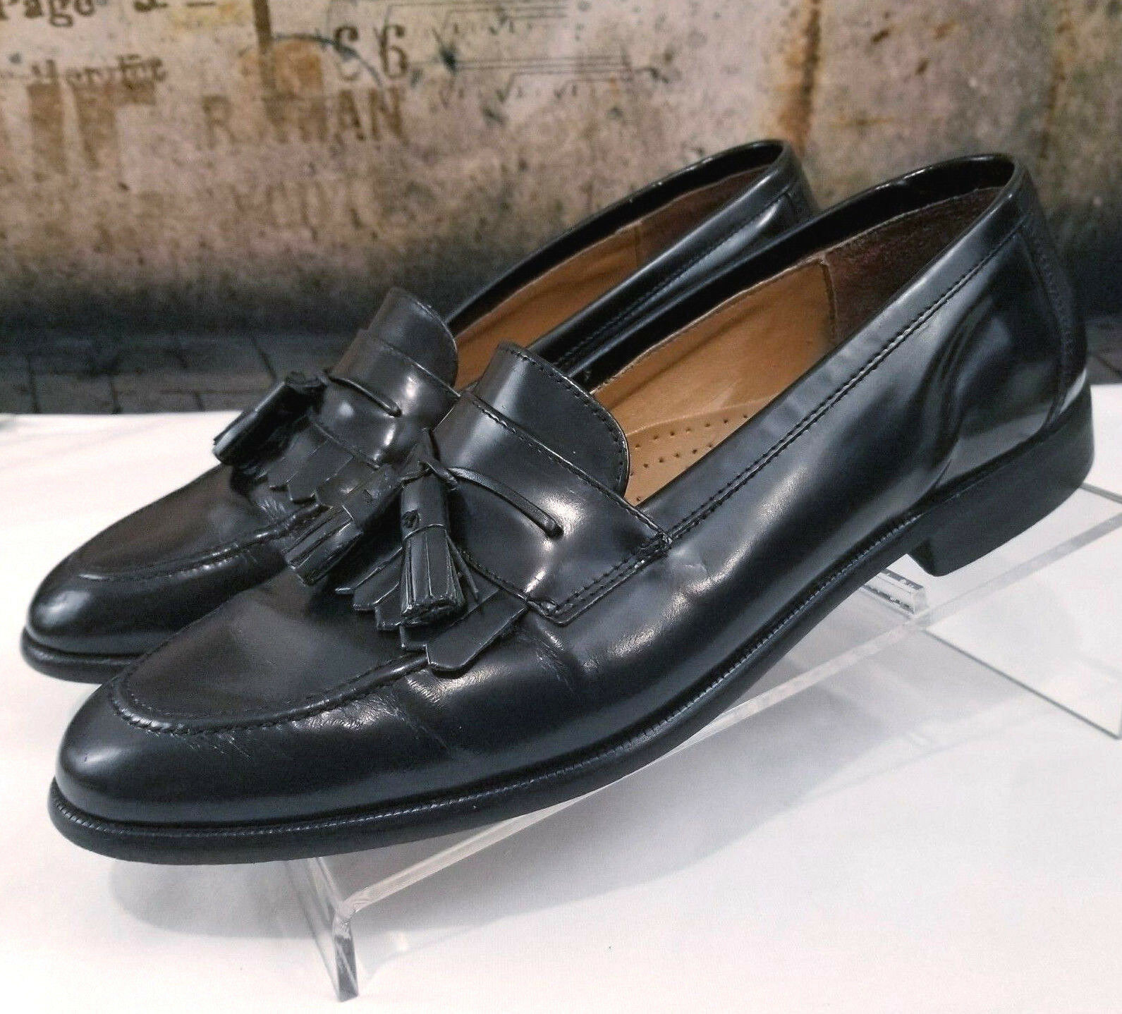 Giorgio Brutini Kiltie Tassel Moc Toe Black Leather D Shoes Loafers Size 9.5 D Leather d4541b