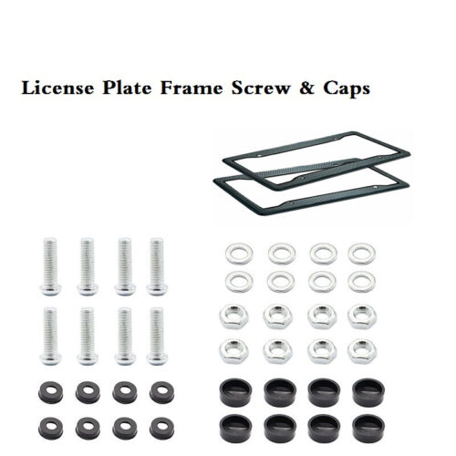 2x Carbon Fiber Style License Plate Shield Frame for Auto-Car-Truck with Screws