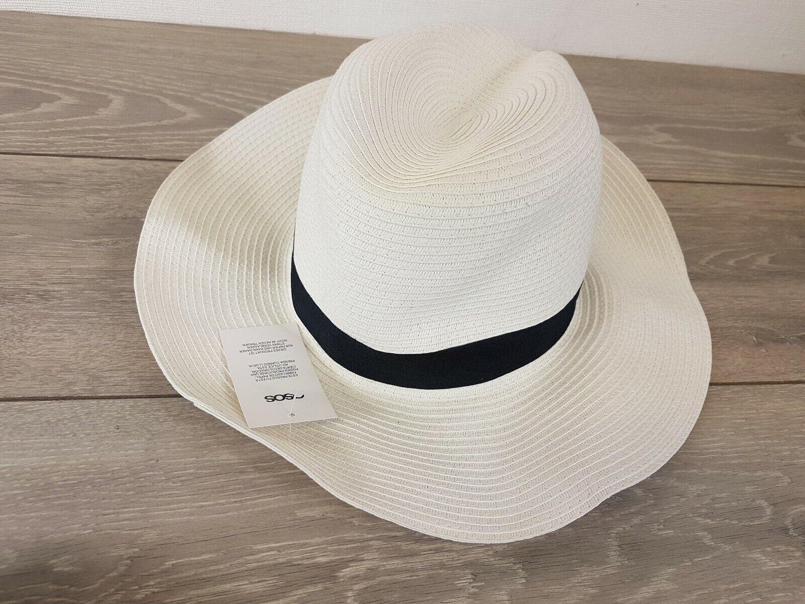 Asos Mujeres señoras Sol De Verano Playa Floppy Sombrero Ala Ancha Paja Blanco