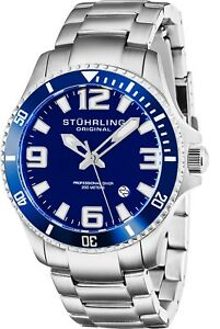 Stuhrling Regatta Men's Swiss Quartz Stainless Steel Link 20 M Sport Dive Watch