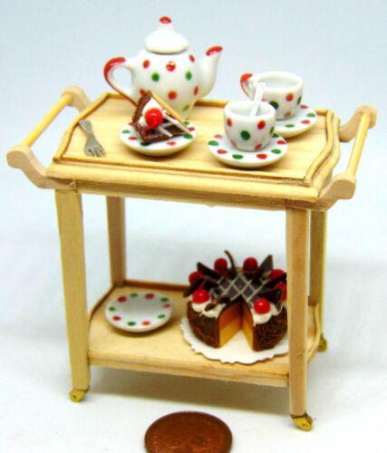 Escala 1:12 carretilla de té en niveles de madera completa 2 tumdee Accesorio de casa de muñecas