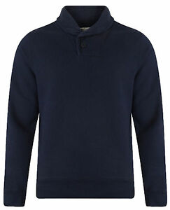 Dissident-New-Men-Shawl-Neck-Sweatshirt-Navy-Blue-Casual-Jumper-Top-Size-Small-S