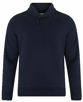 Dissident New Men Shawl Neck Sweatshirt Navy Blue Casual Jumper Top Size Small S