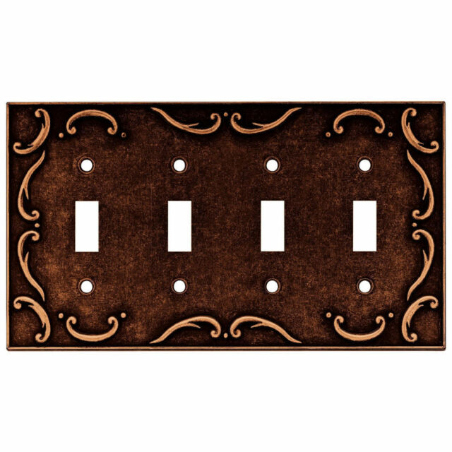 />NEW Brainerd Euro French Lace Single Duplex Outlet Wall Plate SPONGED COPPER