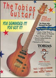 The Tobias electric 6-string guitar 1995 advertisement 8 x 11 ad print