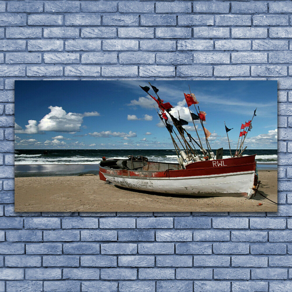Print on Glass Wall art 140x70 Picture Image Sea Beach Boat Landscape
