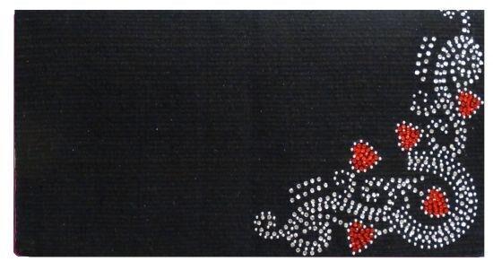 Showman 38x34 Woven New Zealand Wool Saddle Blanket w rosso Heart Rhinestones