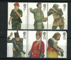 GB456-Great-Britain-2007-British-Army-Uniforms-Se-Tenant-Strips-MUH