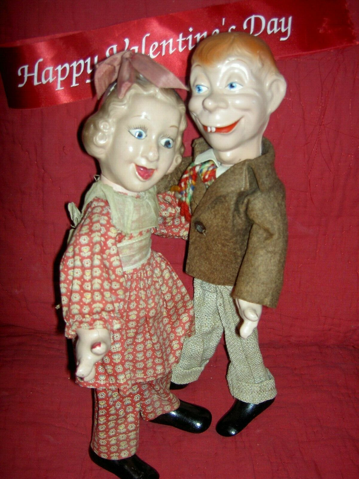 Pair FLEXY Mortimer Snerd & Fanny Brice IDEAL compo. sgnd. character dolls 1938