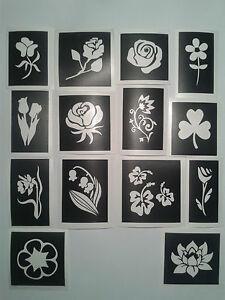 30-x-Blumen-Schablonen-fuer-Glitzer-Tattoos-Airbrush-stieg-Bluebell-Maedchen