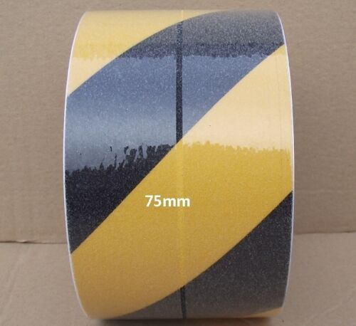 75mm x 18 METERS BLACK /& YELLOW STRIPPED ANTI SLIP TAPE ADHESIVE NON SLIP TAPE