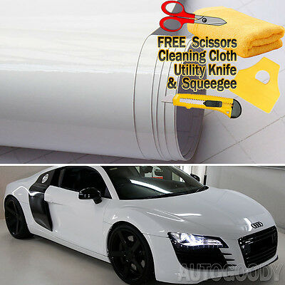 "*24/""x60/"" Gloss Glossy White Vinyl Wrap Sticker Decal Air Release Bubble Free"