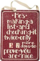 Christmas Wood Hanging Countdown Calendarhe's Making A List & Checking It Twice