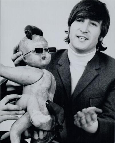 John Lennon cool Beatles pose 1960/'s puts glasses on baby doll 8x10 photo