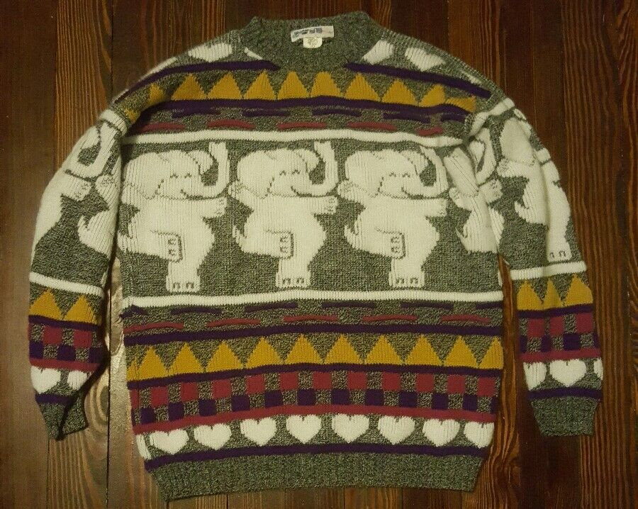 80s Retro Dancing Elephants & Hearts Hearts Hearts Ugly Sweater Made in US Excellent Cond Med c71003