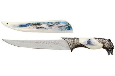 "47091 13.5/"" Steel Collector/'s Wolf Head Winter Scene Printed Sheath"