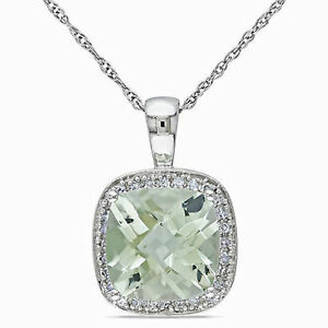 10k white gold 110 ct diamond 2 58 ct green amethyst pendant image is loading 10k white gold 1 10 ct diamond amp aloadofball Image collections
