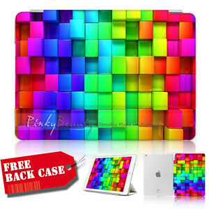 ( For iPad mini 4 ) Smart Cover & Base Case A30046 Abstract Rainbow