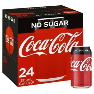 24-Multi Pack Coca-Cola Classic No Sugar Coke Canned Soft Drink Set 375mL
