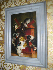 5 CATS ON A CLOCK 4 X 6 blue framed picture Victorian style animal art print