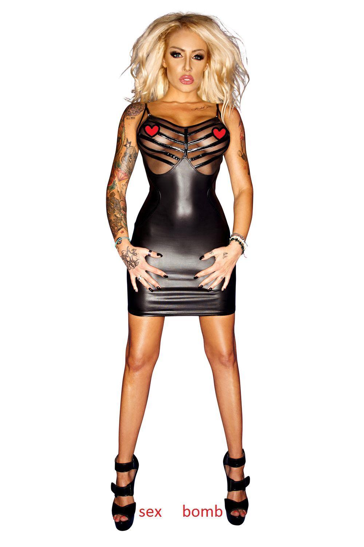 SEXY abito negro vestito WETLOOK tulle ZIP  retro taglie grandi fino 10XL GLAMOUR  vendiendo bien en todo el mundo