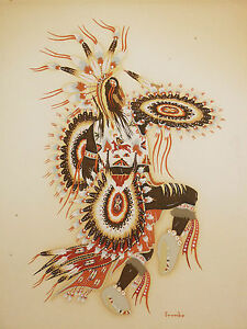 Woody-Crumbo-1912-1989-Sorcerer-Indisch-Framed-Indian-San-Francisco-Potawatomi