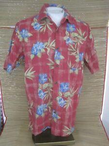 JOE-MARLIN-Men-Hawaiian-ALOHA-shirt-pit-to-pit-23-sz-L-cotton-rayon-floral-luau