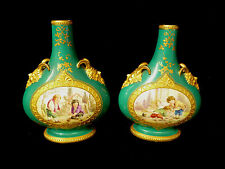 PAIR OF EARLY ROYAL WORCESTER GILT HAND PAINTED SCENIC VASES W/ CHILDREN C 1865