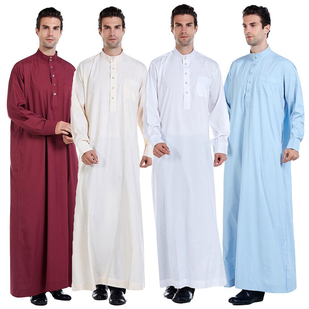 Men/'s Muslim Saudi Thobe Thoub Abaya Robe Daffah Dishdasha Islamic Arab Kaftan