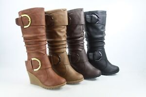 NEW-Women-039-s-5-Color-Mid-Calf-Wedge-Buckle-Zip-Round-Toe-Boots-Shoes