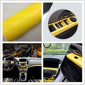 yellow carbon fiber vinyl wrap sticker auto interior accessorie console dashboar ebay. Black Bedroom Furniture Sets. Home Design Ideas