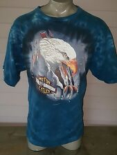 Harley Davidson T-Shirt New York, Tie Dye Blue Size XXXL vtg acid wash
