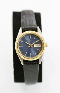 Pulsar Women Watch Blue Day Date Stainless Silver Gold Leather Black Batt Quartz