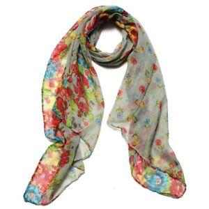Gris-Foulard-Echarpe-Chale-Cheche-Long-Fleur-Etole-Floral-Femme-Coton-Scarf-C6E3