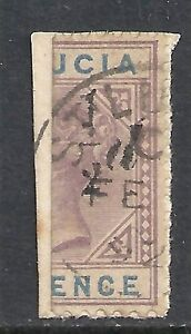 St.Lucia 1891 SG 54 Bisected on fragment CANC VF