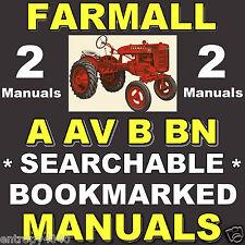 Farmall A AV B BN U-2 4 Cyl Tractor SHOP & SERVICE REPAIR Manual -2- MANUALS CD