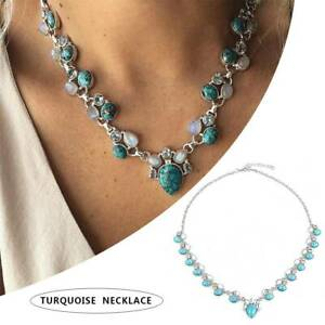 Retro-Gemstone-Flower-Turquoise-925-Silver-Chain-Pendant-Necklace-Jewelry-Gift