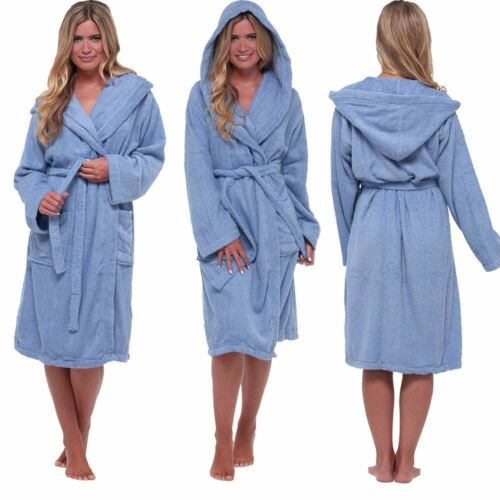 Womens//Ladies 100/% Cotton Terry Towelling Bath Robe//Dressing Gown Size 8-22