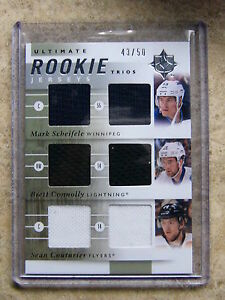 11-12 UD Ultimate Trios Jersey Rookie MARK SCHEIFELE / CONNOLLY / COUTURIER /50