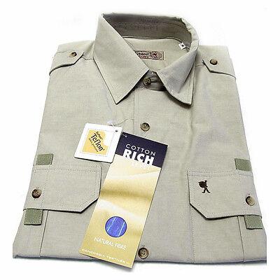 Sportliches Herren Freizeithemd Oberhemd Kurzarm Cotton Rich M 48/50 Hellbeige
