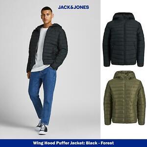 Jack & Jones Mens Quilted Puffer Jacket, Hooded, Padded, Full Zip Black or Olive