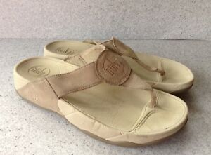 7a29565d5ec61a FITFLOP Womens Size 9 Off White With Beige Leather Flip Flop Sandals ...