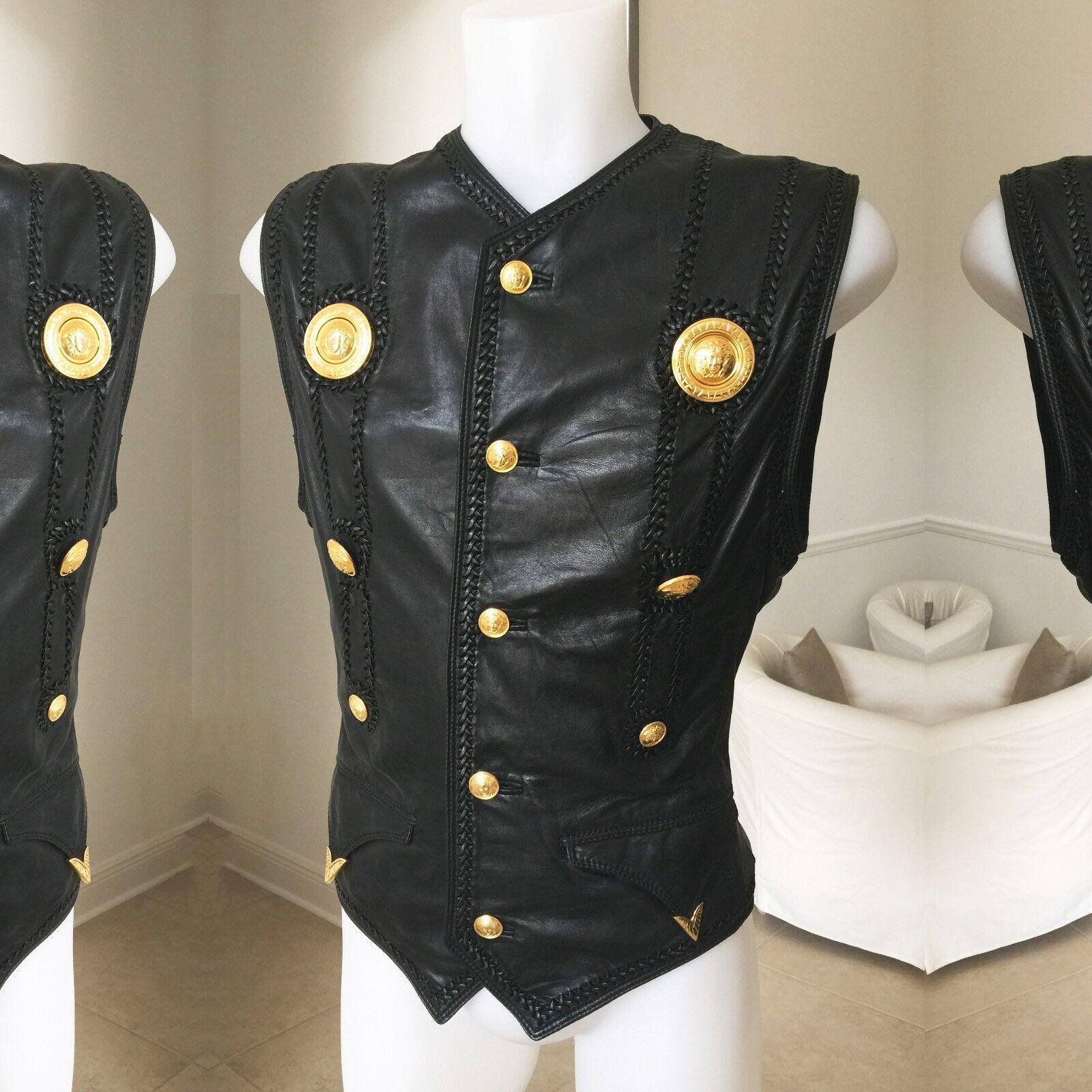 GIANNI VERSACE Leder with Medusa medallions bondage vest Italian Größe 52