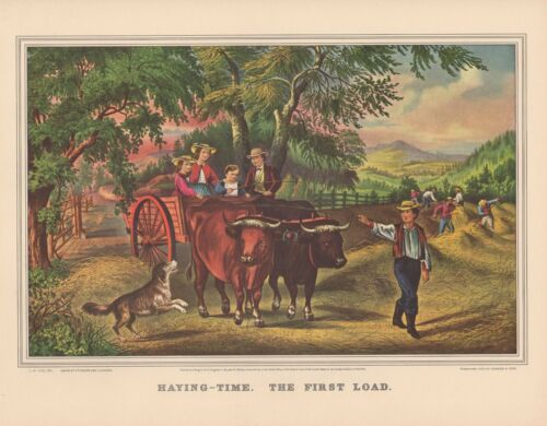 "1952 Vintage Currier /& Ives /""HAYING TIME THE FIRST LOAD/"" FARM COLOR Lithograph"