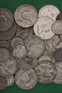 MAKE OFFER Half Troy Pound Ben Franklin Roosevelt Walking Junk 90/% Silver Coins