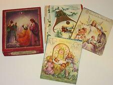 Vtg 50's Box Xmas Card 13 unused Cards w Bible Verses angels carolers sleigh